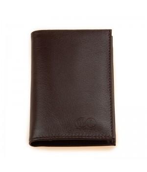 Petit portefeuille artisanal uni marron