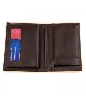Petit portefeuille artisanal uni marron carte paiement fidélité fermeture éclair monnaie