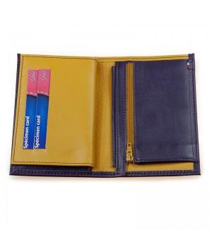 Petit portefeuille artisanal bicolore prune jaune carte paiement fidélité fermeture éclair monnaie
