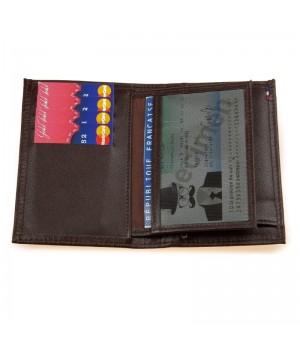 Petit portefeuille artisanal uni marron carte identité poche billet