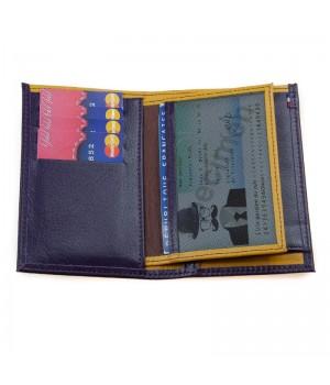 Petit portefeuille artisanal bicolore prune jaune carte identité poche billet