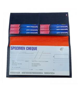 Porte-chéquier artisanal bicolore marine orange horizontal carte paiement fidélité