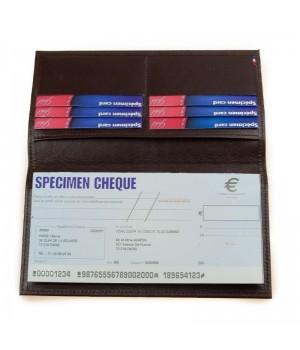 Porte-chéquier artisanal uni marron horizontal carte paiement fidélité