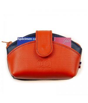 Troussette avec patte artisanale bicolore marine orange