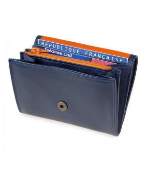 Porte-monnaie trieur artisanal bicolore marine orange carte identité monnaie carte paiement fidélité