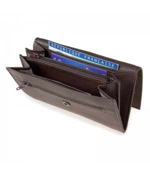 Grand porte-monnaie trieur artisanal uni marron carte identité monnaie billet carte paiement fidélité