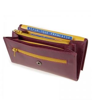 Grand porte-monnaie trieur artisanal bicolore rubis jaune carte identité monnaie billet carte paiement fidélité