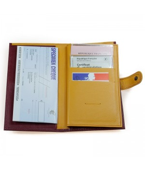 compagnon artisanal bicolore rubis et jaune porte chéquier et papier important