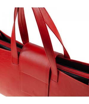 sac à main patte rouge uni artisanal fermeture éclair
