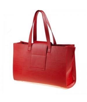sac à main patte rouge uni artisanal vue de dos