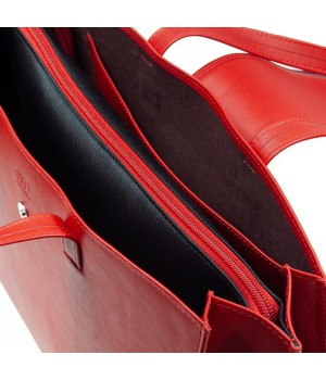 sac à main patte rouge uni artisanal intérieur poche