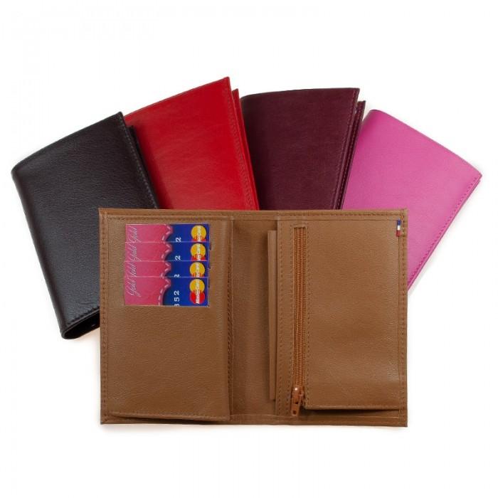 Portefeuille junior artisanal double rabat bicolore ou uni rouge marron noir cognac