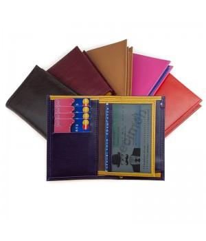 Petit portefeuille artisanal bicolore ou uni cognac rouge noir marron
