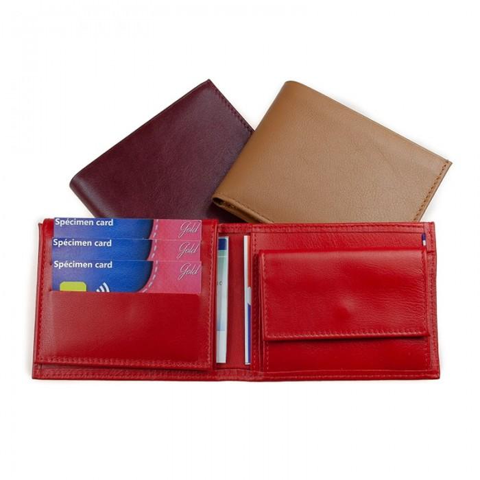 Portefeuille horizontal américain artisanal bicolore ou uni rouge noir marron cognac