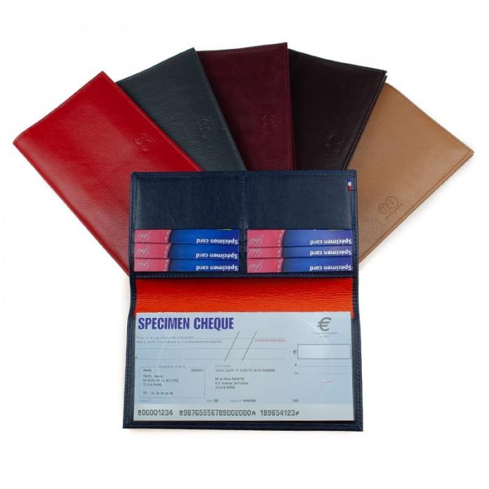 Porte-chéquier artisanal bicolore ou uni rouge noir cognac marron