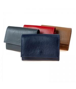 Porte-monnaie trieur artisanal bicolore ou uni rouge cognac marron noir
