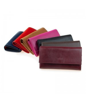 Grand porte-monnaie trieur artisanal bicolore ou uni rouge marron noir cognac