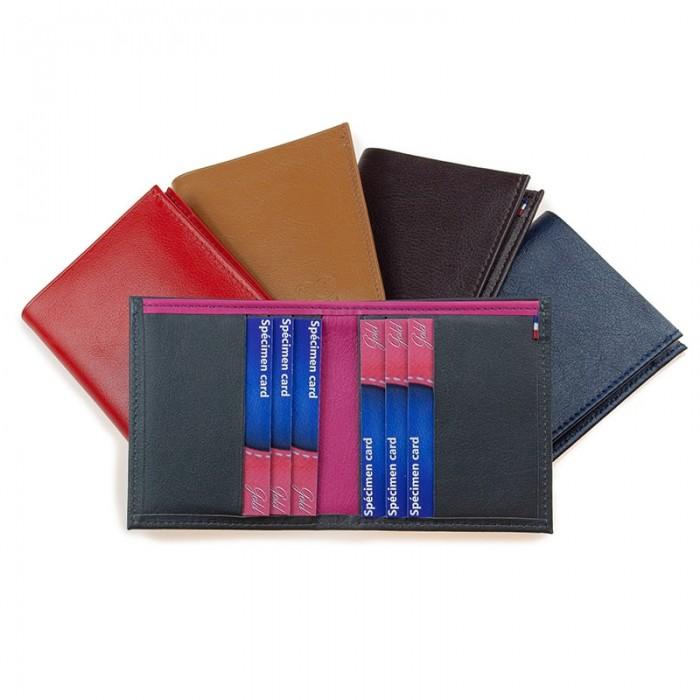 Porte-carte artisanal bicolore ou uni marron noir rouge cognac