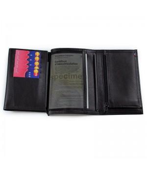 Grand portefeuille artisanal double rabat unicolore noir Poche carte de fidélité grille souple pour papier