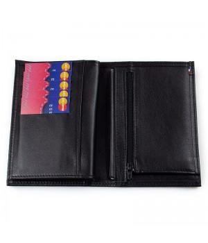 Grand portefeuille artisanal double rabat unicolore noir poche carte de paiement et fermeture éclair monnaie