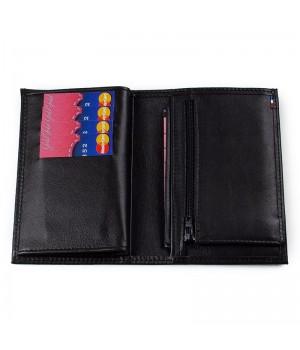 Portefeuille junior artisanal double rabat uni noir carte de paiement fermeture éclair monnaie