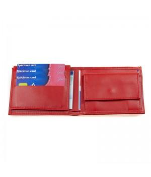 Portefeuille horizontal américain artisanal uni rouge carte bancaire poche monnaie