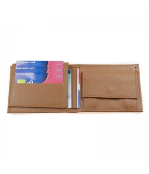 Portefeuille horizontal américain artisanal uni cognac carte bancaire poche monnaie