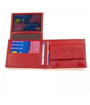 Portefeuille horizontal américain artisanal uni rouge rabat grille carte fidélité permis ID1carte identité